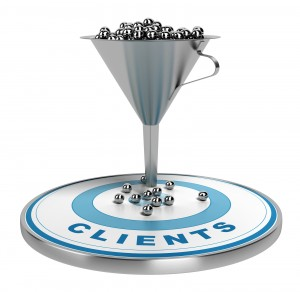webmarketing sales funnel with metal spheres inside plus a blue target with some balls on it illustration isolated over white.