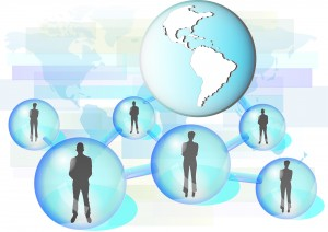 Illustration of business people connected in network with globe. Elements of this image are furnished by NASA